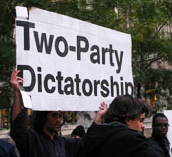 'Two-Party Dictatorship' Sign at Occupy Wall Street, New York City, photo by Rick Theis