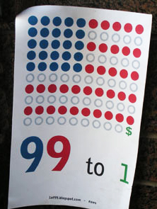 '99 to 1' Sign at Occupy Wall Street, New York City, photo by Rick Theis