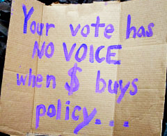 'No Voice' Sign at Occupy Wall Street, New York City, photo by Rick Theis